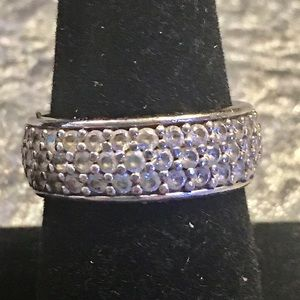 Silver & CZ Eternity Band Ring, size 9